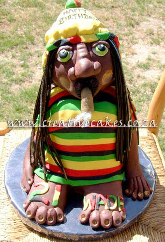 Sculptured Rasta Cake was Designed for a 21st Birthday Party as something fun