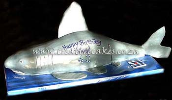 Sculptured Shark Cake was Personalised as a supprise for an Adults Birthday Party